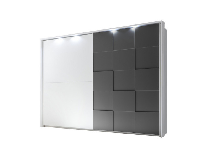 Armoire 2 portes coulissantes 275 cm blanc/gris mat à leds - ticato - l 285 x l 64 x h 210 - neuf