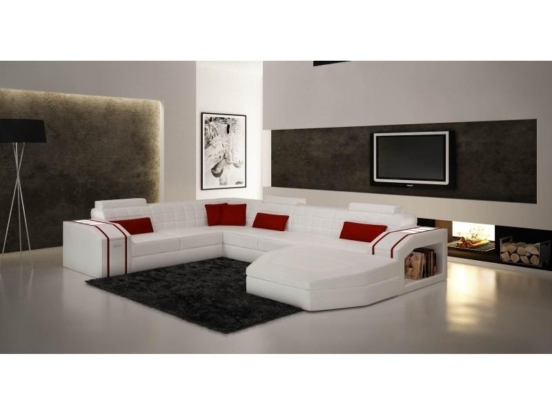 Canapé d'angle panoramique cuir blanc et rouge saturn-