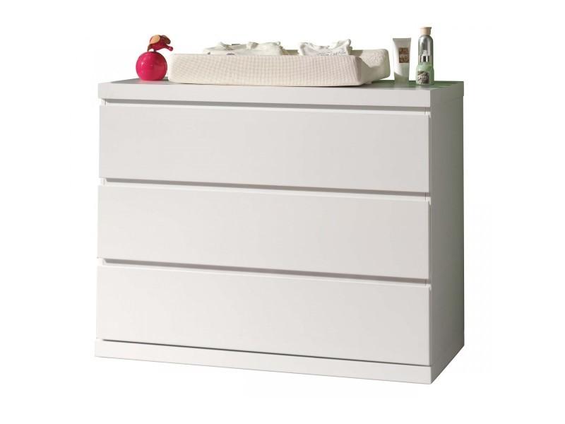 Commode 3 tiroirs blanc laqué co2007