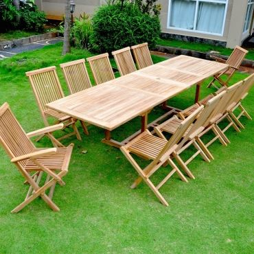 Kajang: salon de jardin teck brut 12/14 pers - table rectangulaire ...