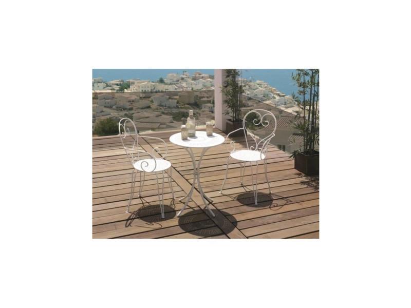 Set table de jardin romantique en fer forge 60 cm + 2 fauteuils - blanc IMDL54BLC