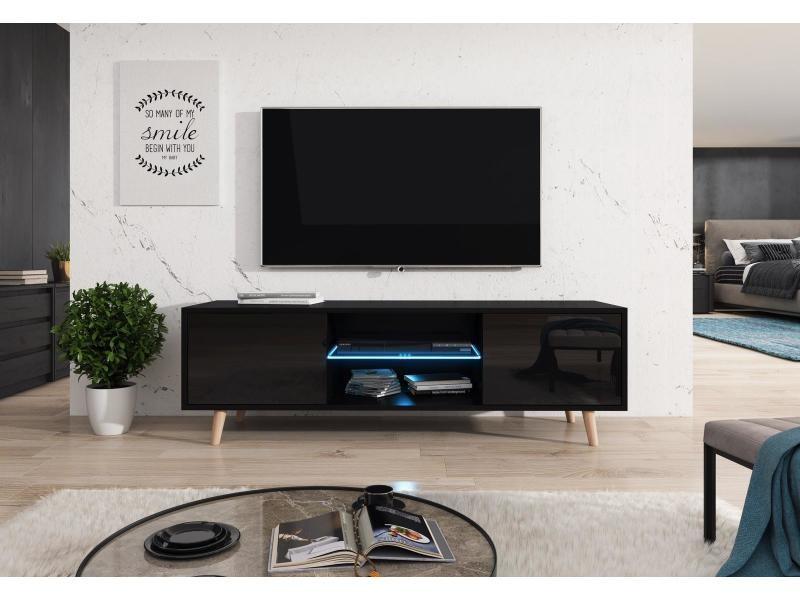 Meuble tv lasse en couleur noir et noir brillant, eclairage led
