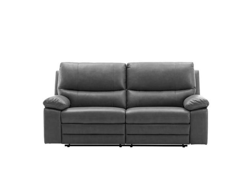 Canapé 2 places relax électriques - tissu et simili gris - l 201 x p 158 x h 99 cm - dustin BODUSTIND8666EGR