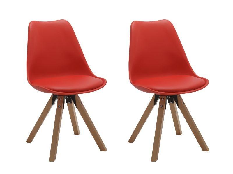 Chaise salle à manger lot de 2 rouge en plastique avec coussin en similicuir sélection de couleur design retro chaise scandinave avec pieds en bois duhome 518m
