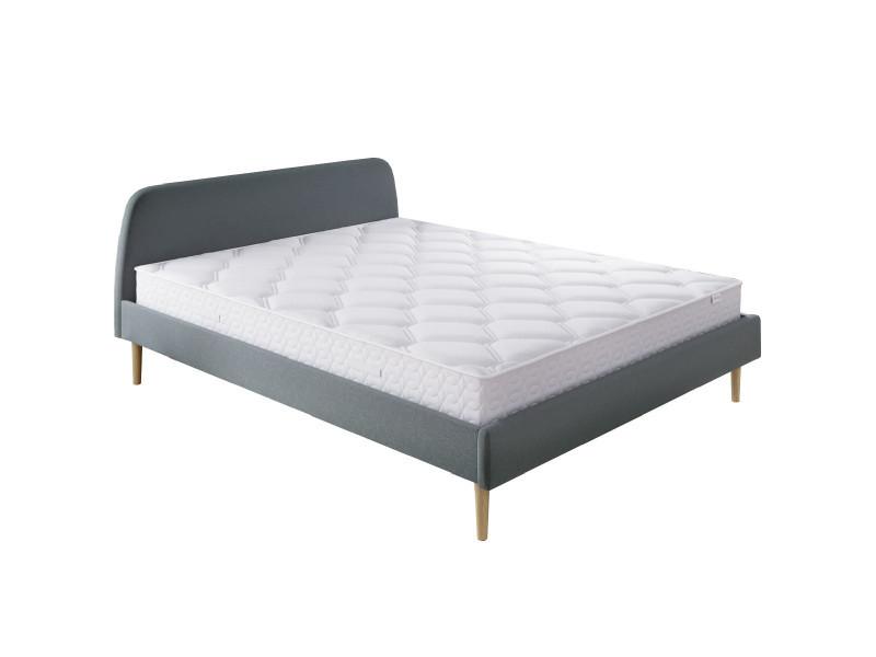 Ensemble matelas ressorts 160x200 spring confort + lit gris foncé + sommier à lattes - mousse hd + ressorts ensachés - hbedding 160 x 200 cm
