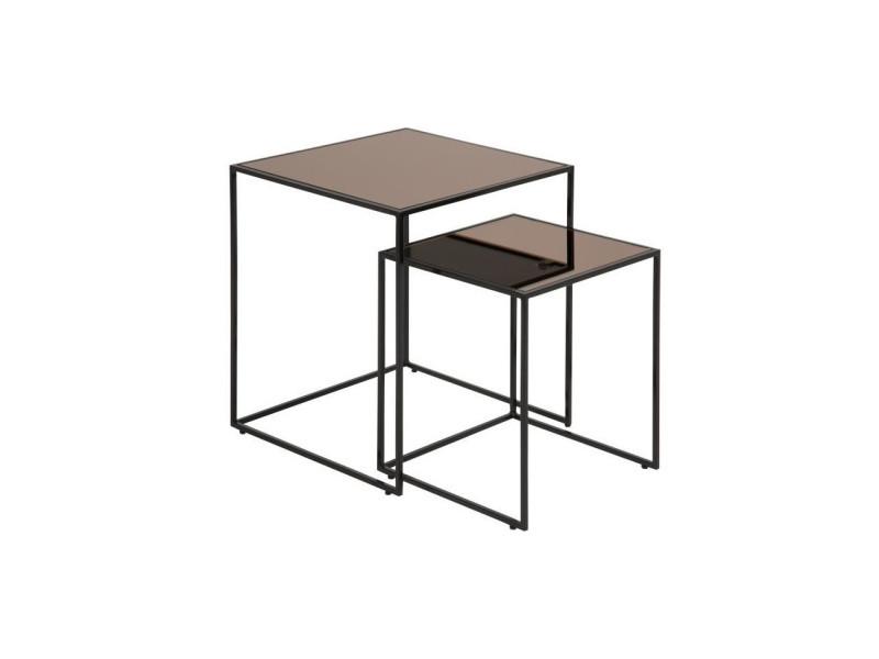 Bolton lot de 2 tables basses carrees vintage en metal laque noir + plateau en miroir bronze - l 45 x l 45 cm
