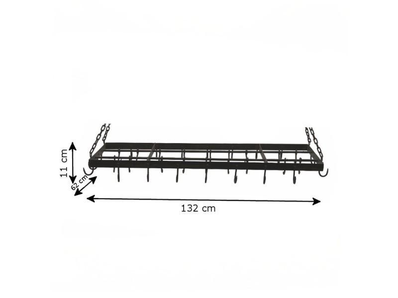 Suspension de cuisine porte jambon ustensile fer métal 132 cm x 62 cm RF-105-Suspension