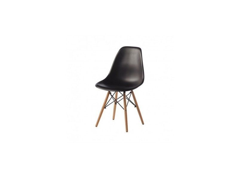 Chaise design noire et bois clap