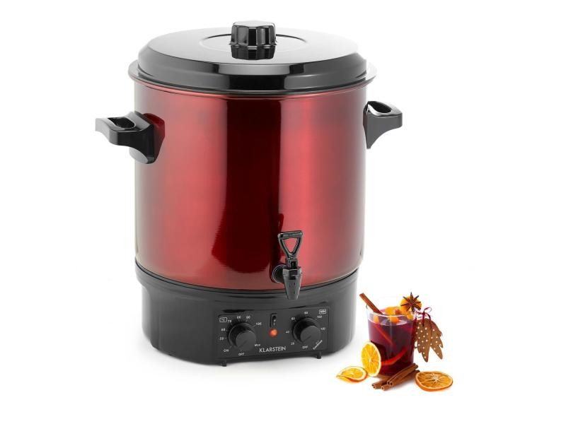 Klarstein biggie distributeur de boissons chaudes 27l - minuterie réglable - 2000w - rouge