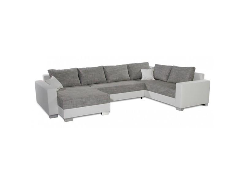 Canapé d'angle en u convertible still gris et blanc TENDENCIO