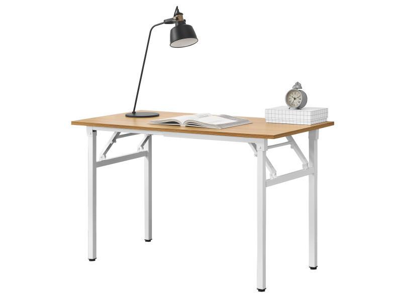 Neu Haus Table Pliante Table Cuisine Hauteur Reglable Pour 4 Personnes 120 X 60 X 75 76 4cm Hetre Et Blanc Vente De Table Conforama
