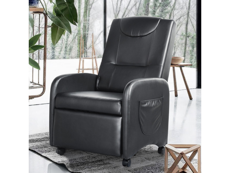 Fauteuil relax ignifuger inclinable noir pu bois