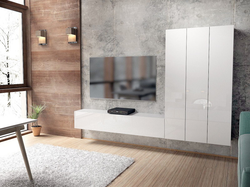 Ensemble de 4 meubles blancs mat façades brillantes