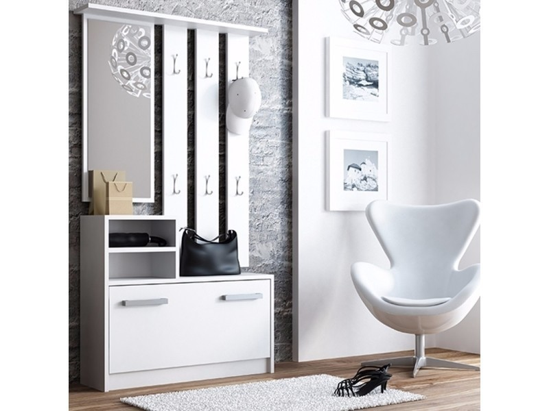 meuble entr e vestiaire entr e ambre 85 cm blanc mat avec armoire chaussures selsey. Black Bedroom Furniture Sets. Home Design Ideas