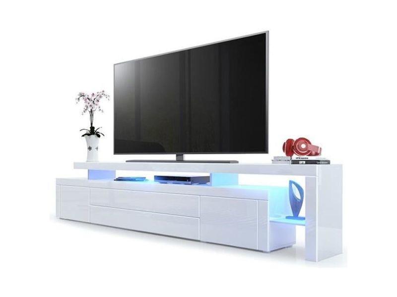 Meuble Tv Blanc Laque 227 Cm Avec Led Vente De Meuble Tv Conforama
