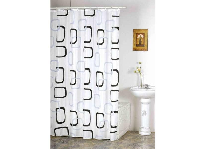 Rideau de douche décor anneaux noirs et gris - Vente de ...