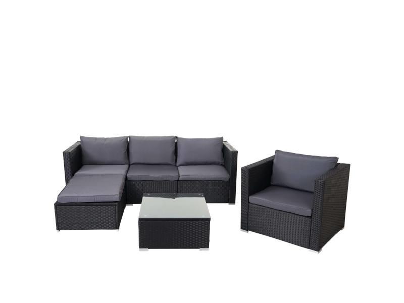 Ensemble de meubles de jardin brescia, poly-rotin ~ noir, coussins anthracite