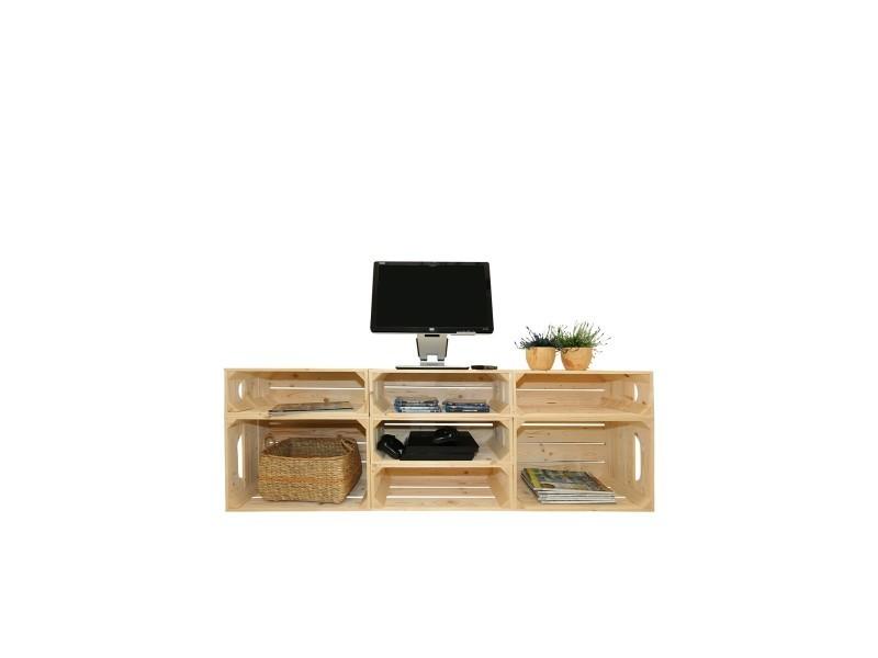 Meuble tv modulable 7 niches de rangement vente de simply a box conforama - Meuble tv a composer modulable ...