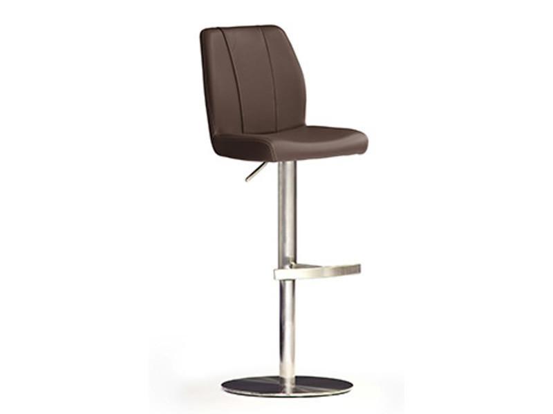 Tabouret de bar en cuir socle rond en acier brossé coloris marron rotation 360° - dim : h 89-114 x 42 x 52 cm -pegane-