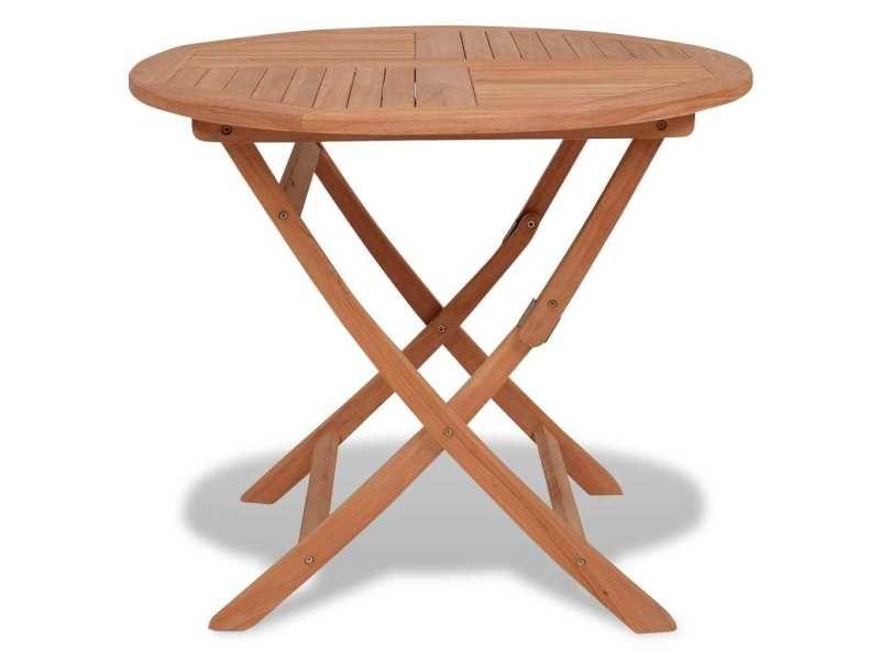 Moderne mobilier de jardin serie varsovie table pliable de jardin 85x76 cm bois de teck solide