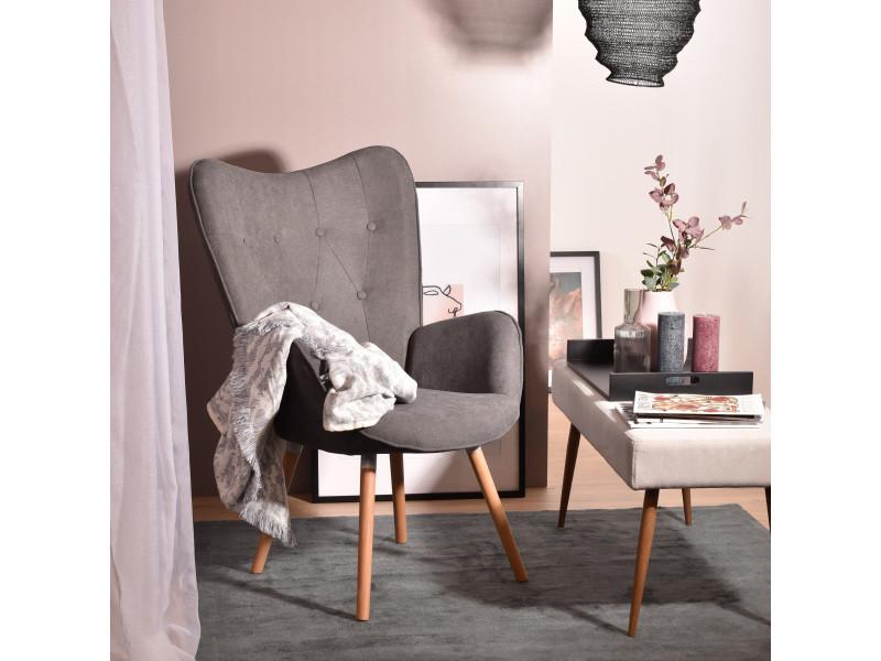 Fauteuil scandinave tissu gris