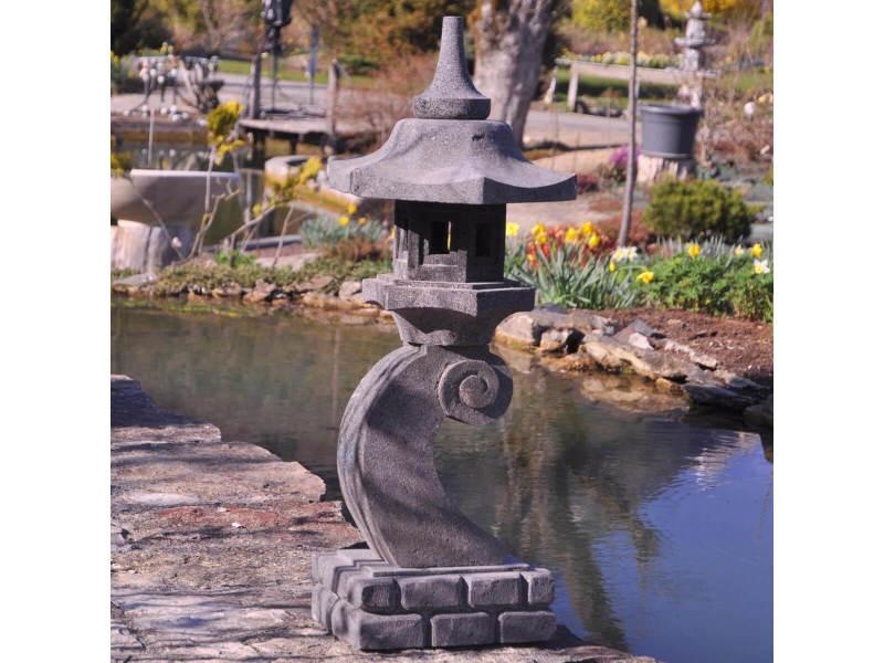 Lanterne japonaise en pierre de lave 90 cm lampe jardin terrasse ...
