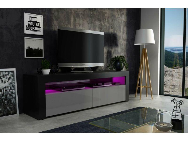 Meuble tv 157 cm noir mat gris laqué + led rgb