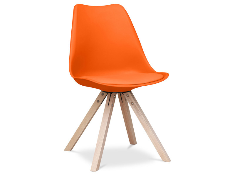 Chaise design scandinave avec coussin geneva - polypropylène mat orange