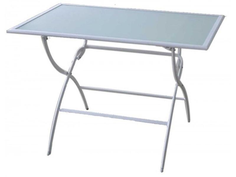 Table De Jardin Pliante En Acier De Couleur Blanche Dim 141 5