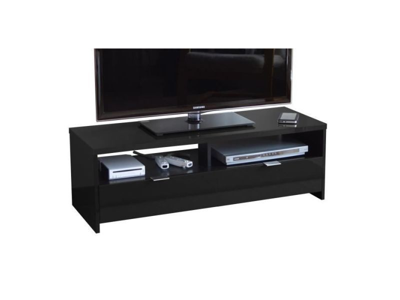 Meuble tv - meuble hi-fi banco meuble tv contemporain noir brillant - l 110 cm