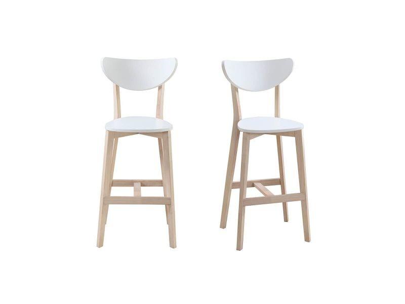 Tabourets de bar scandinaves blanc et bois 65 cm lot de 2 leena vente de chaise de cuisine for Tabouret de bar blanc et bois