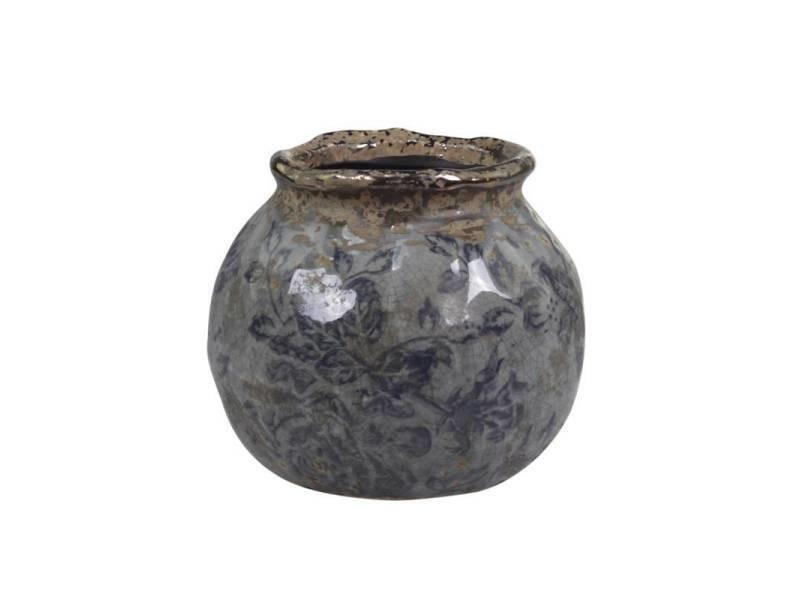 Pot motifs floraux vase pot à crayons broc décoratif en terre cuite emaillée dans les tons bleus 8,5x9x9cm