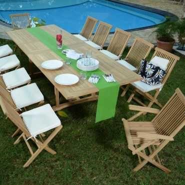 Salon de jardin en teck ecograde thira, table extensible 2 à ...