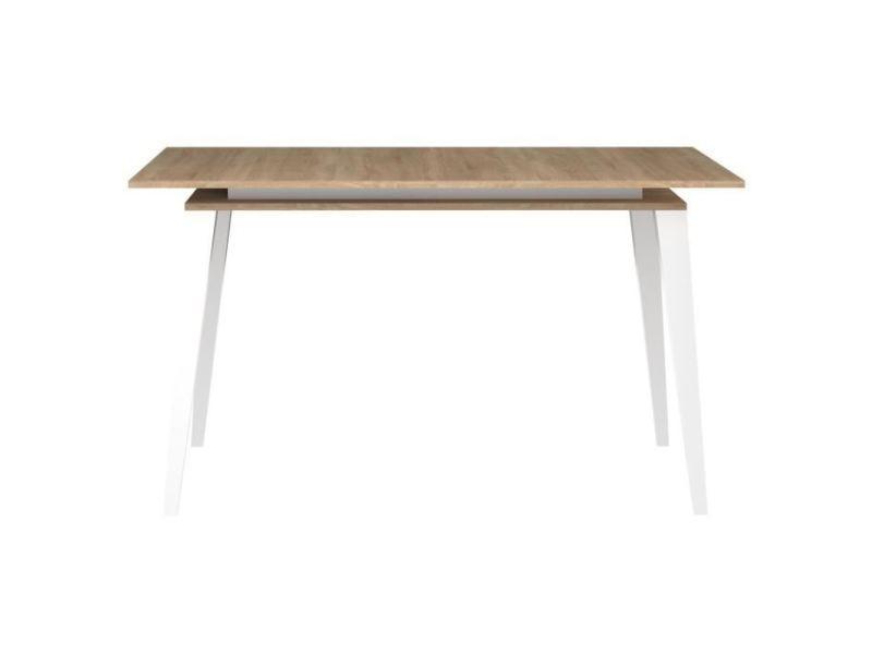 Table a manger seule oslo table extensible - scandinave - décor chene naturel + pieds en hetre massif - l 134 - 174