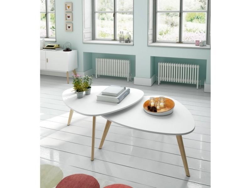 Lot de 2 tables basses en bois laqué blanc semi-mat et chêne twinny ...