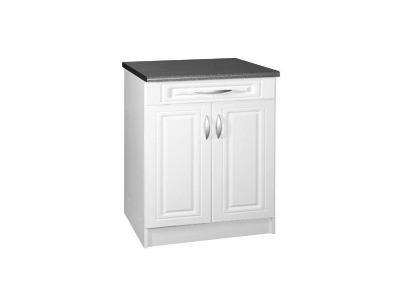 Meuble de cuisine bas 2 portes 1 tiroir 80 cm dina en mélaminé avec 1 tiroir et 1 étagère blanc
