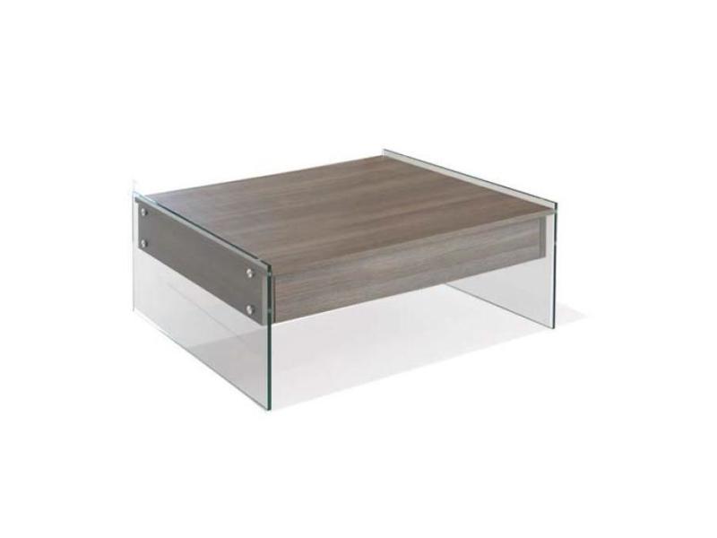 Table basse relevable bella 130x80cm coloris noyer piétement en verre 20100875155