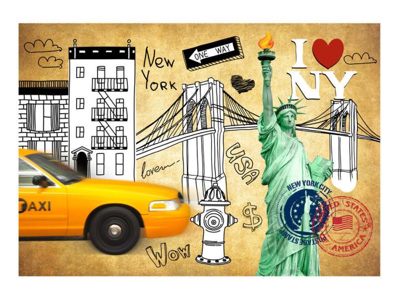 Papier peint - one way - new york 100x70