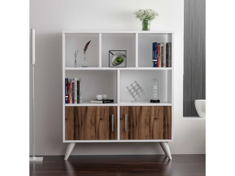 Homemania bibliothèque ducky avec étagères, meuble murale de rangement - avec portes - pour ...