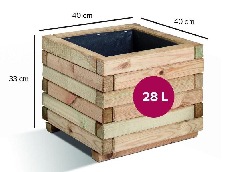 Bac à fleurs carré stockholm 28 litres 0281054
