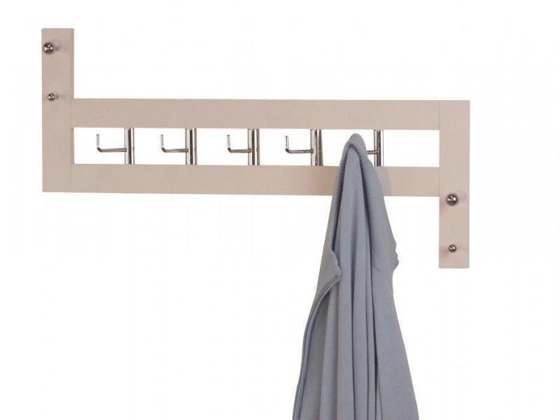 Porte-manteau mural en bois blanc 25x60x8cm med05048