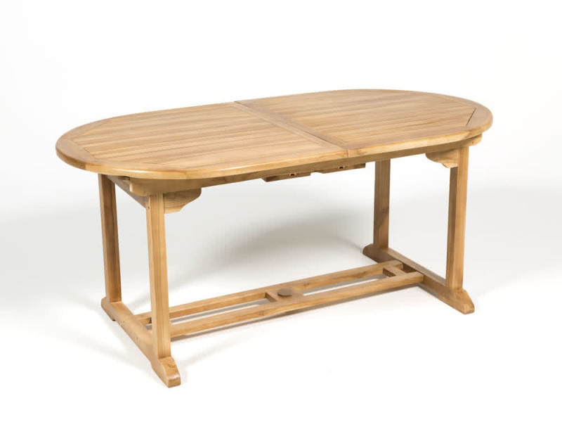 table de jardin ovale extensible teck 170 210x90cm vente. Black Bedroom Furniture Sets. Home Design Ideas