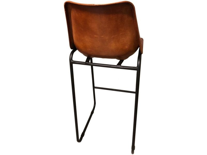 0a04a765a76a6 Aubry gaspard - tabouret de bar en cuir marron et pieds en métal ...