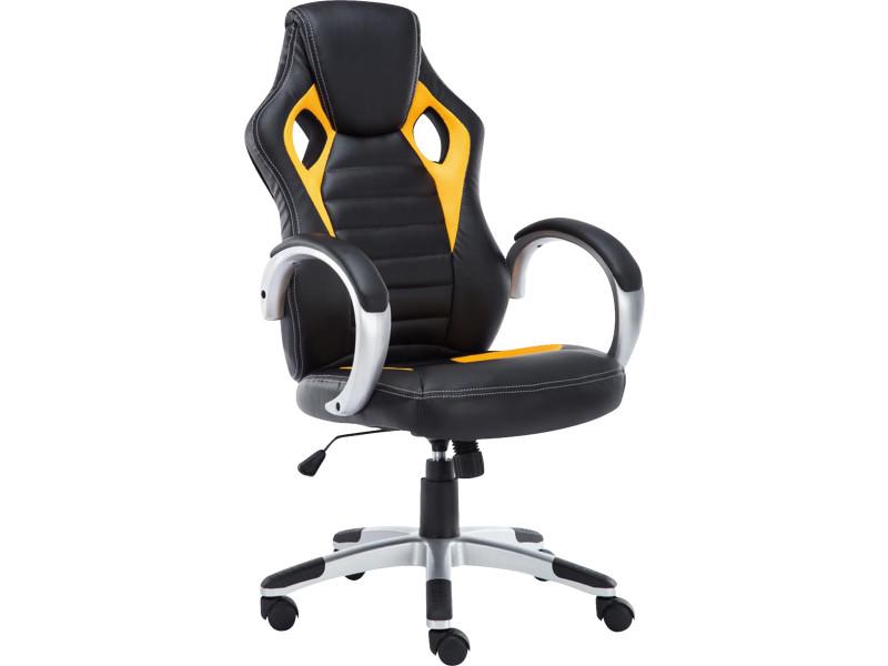 Chaise de bureau en polyuréthane noir jaune cm