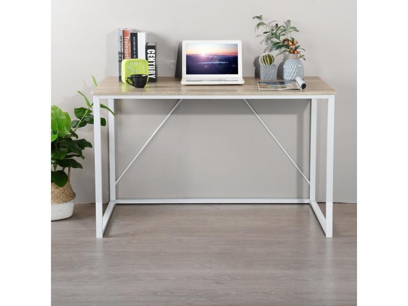 Bureau chêne blanc simple scandinave bois métal 120*60