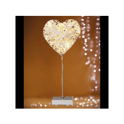 Cœur en rotin lumineux - 10 led - blanc chaud