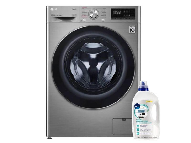 Lg lave-linge frontal 8kg a+++ 1400trs/min tambour 59l wi-fi direct drive machine à laver hublot