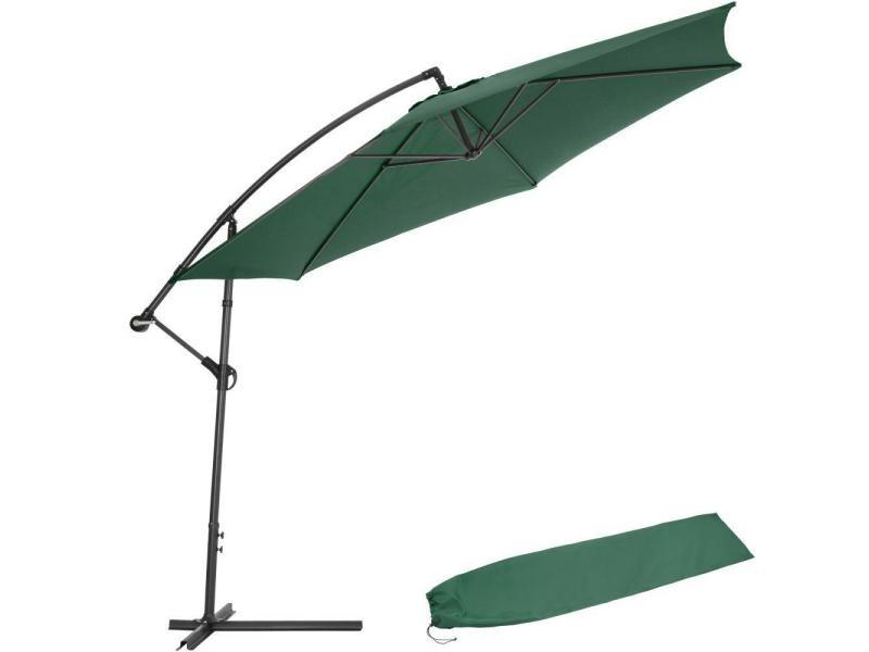 Parasol 350 cm avec housse de protection meuble jardin vert helloshop26 2208122