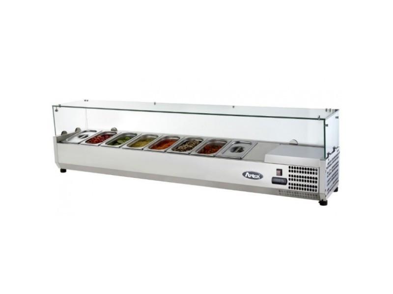 Saladette réfrigérée à poser couvercle vitré bacs gn 1/3 - 1200 à 2000 mm - atosa - r600a 2000 mm