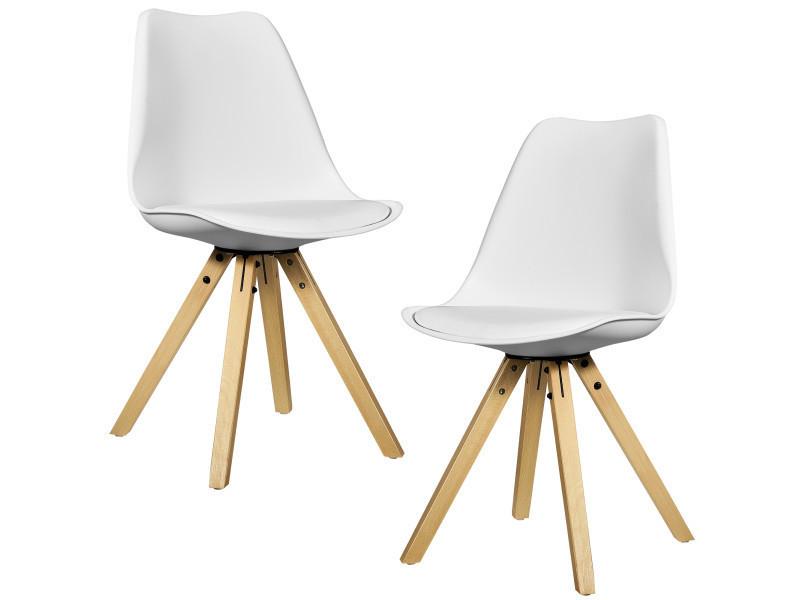 [en.casa] 2x chaise de design blanc rembourré salle à manger cuir synthétique cuisine